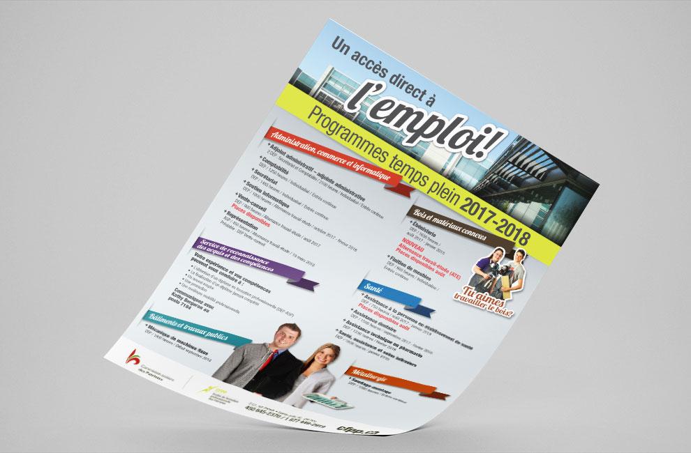 Feuillet publicitaire, flyer, graphiste, conception graphique pour le CFPP