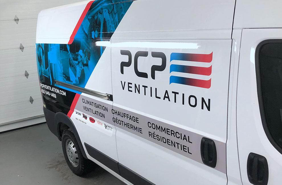 Wrap de véhicule pour PCP ventilation, graphiste, conception graphique, impression et installation