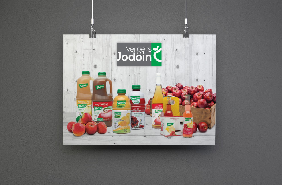 Affiche pour vergers jodoin, retouche photo, grand format, graphiste