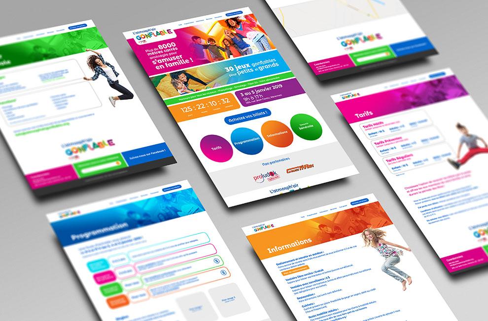 Site web de l'Atmosph'air Gonflable, conception graphique, graphiste, intégration, develloppement du site web