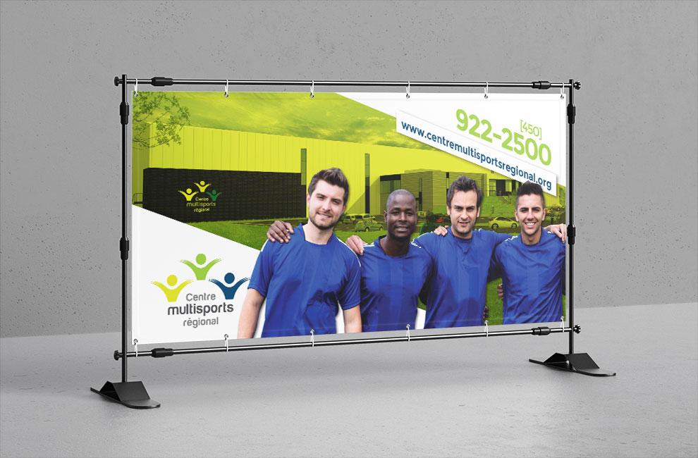 Affiche grand format pour le Centre multisports régional de Varennes, impression grand format, graphiste