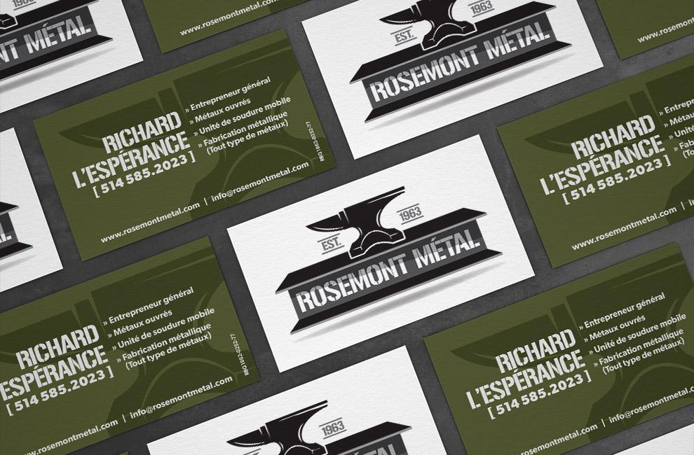 Création d'un site web pour Rosemont métal, graphiste, carte d'affaire