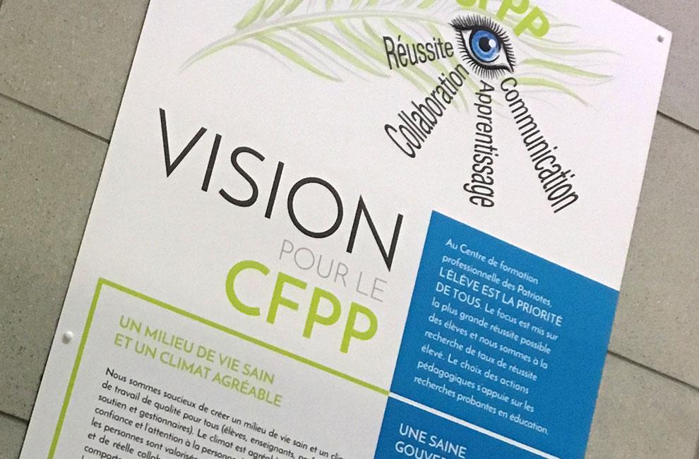 Affiche grand format pour le CFPP, La vision pour le cfpp, graphiste, impression grand format