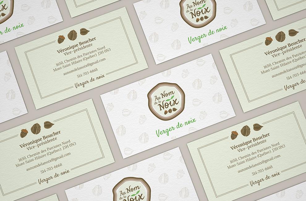 Création de logo pour Au nom de la noix, graphiste et branding, carte d'affaire