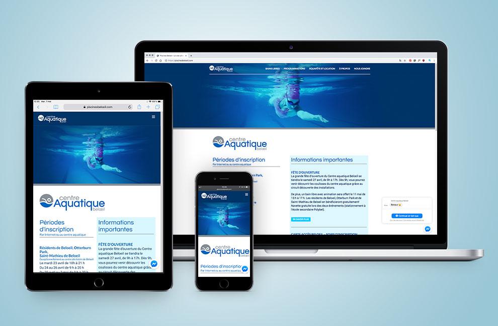 Création du site web pour le centre aquatique beloeil, graphiste, intégration web