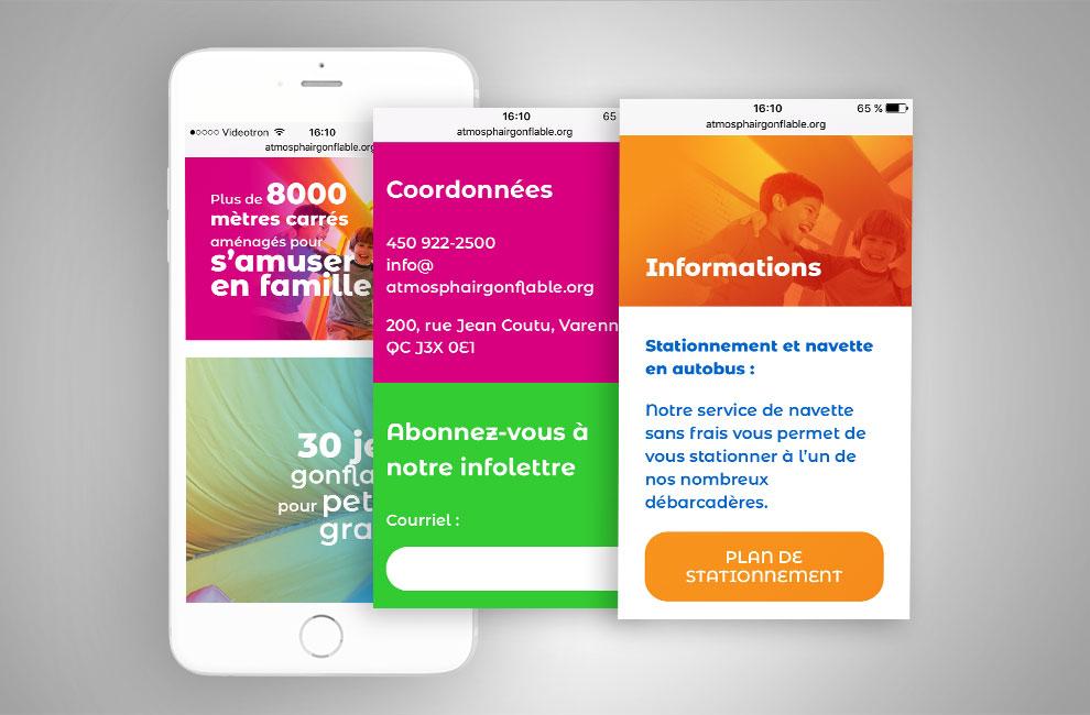 Site web de l'Atmosph'air Gonflable, conception graphique, graphiste, intégration, develloppement du site web, mobile