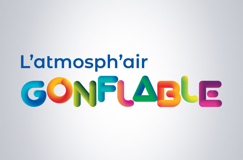 Création de logo pour l'atmosph'air gonflable, graphiste, branding