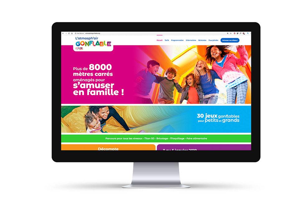 Création du site web pour l'atmosph'air gonflable, graphiste et branding, intégration