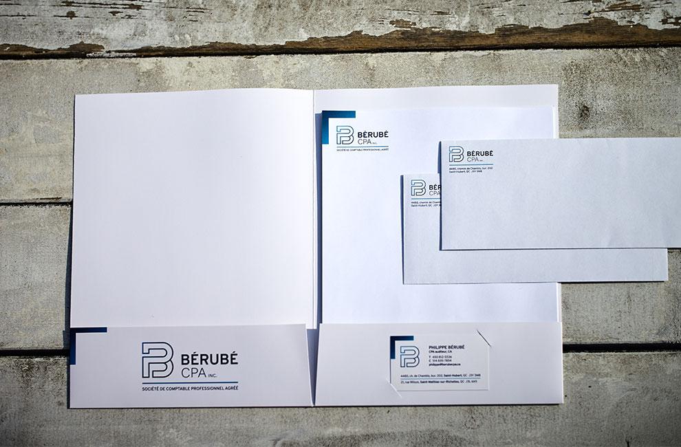 Branding pour Bérubé cpa, papeterie, pochette corporative, entête de lettre, enveloppe et carte d'affaire