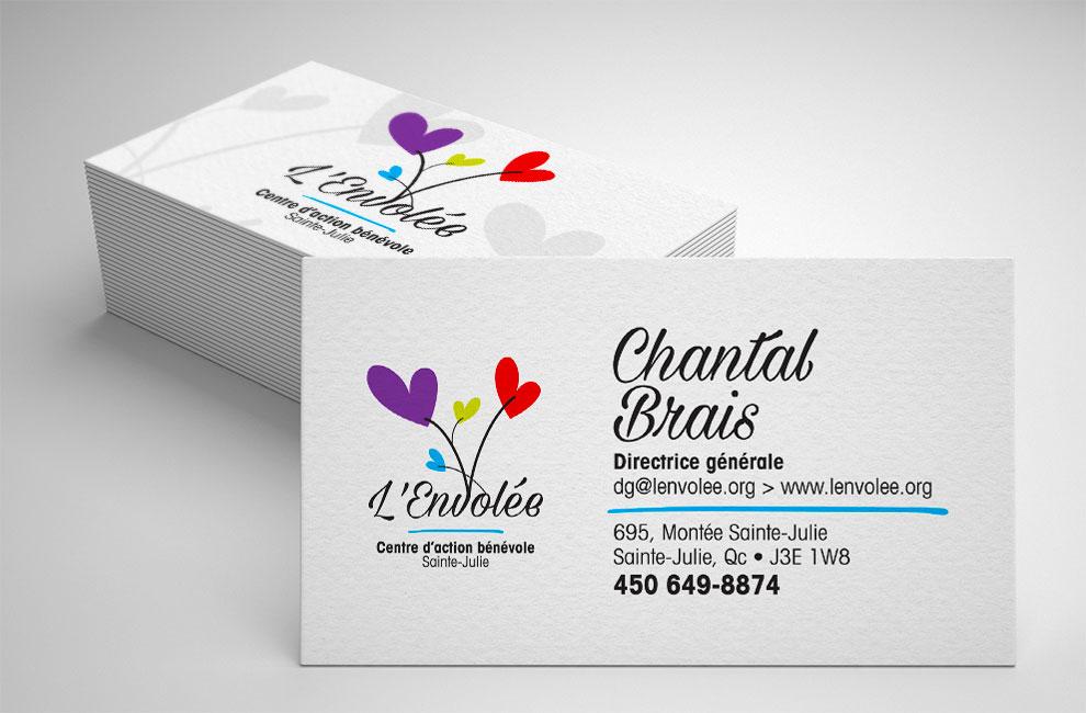 Création de logo pour l'Envolée, graphiste et branding, carte d'affaire