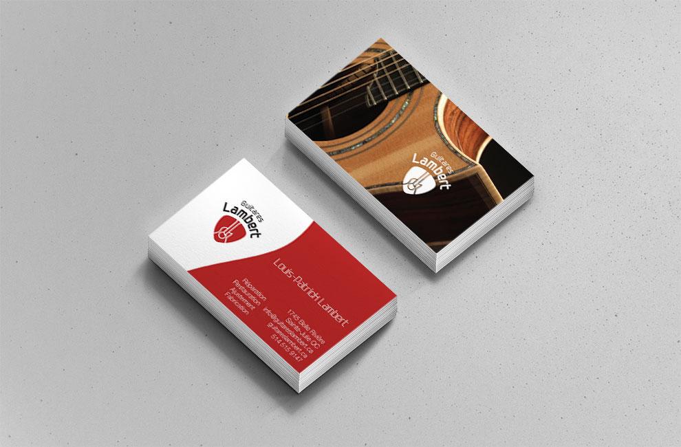Création d'un logo pour Guitares Lambert, carte d'affaire, branding, graphiste