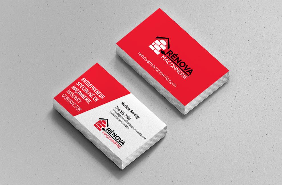 Création de logo pour Rénova maconnerie, carte d'affaire, graphiste et branding
