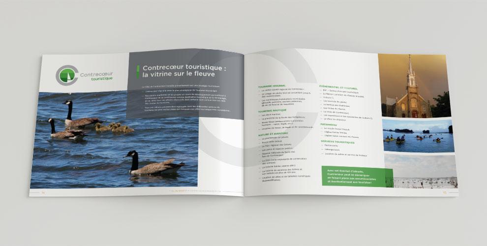 Brochure promotionnelle pour la ville de contrecoeur, graphiste, mise en page