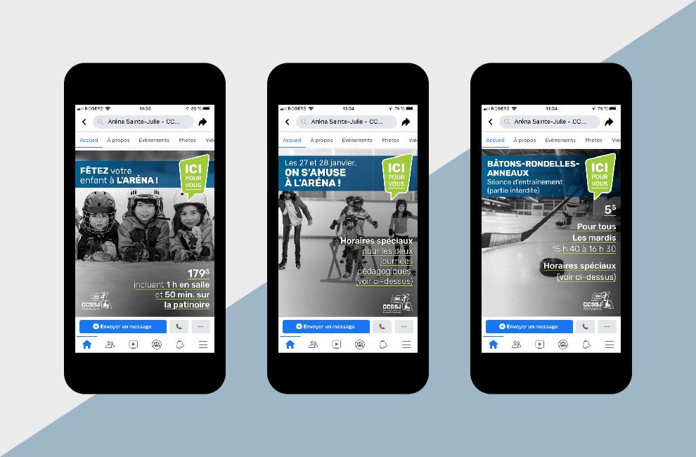 Publicité télévision et facebook pour aréna ccssj