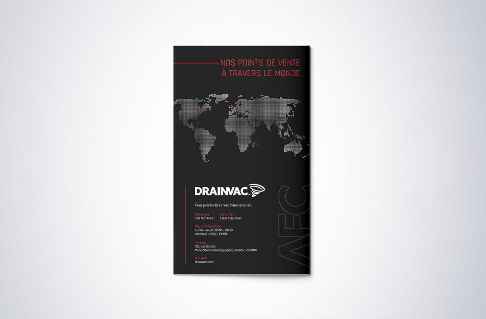 Feuillet promotionnel pour Drainvac, graphiste, shooting photo