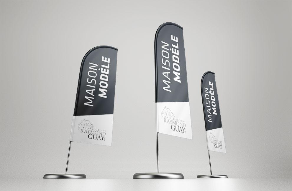 Création de logo pour les habitations raymond guay, graphiste, drapeau, affichage grand format