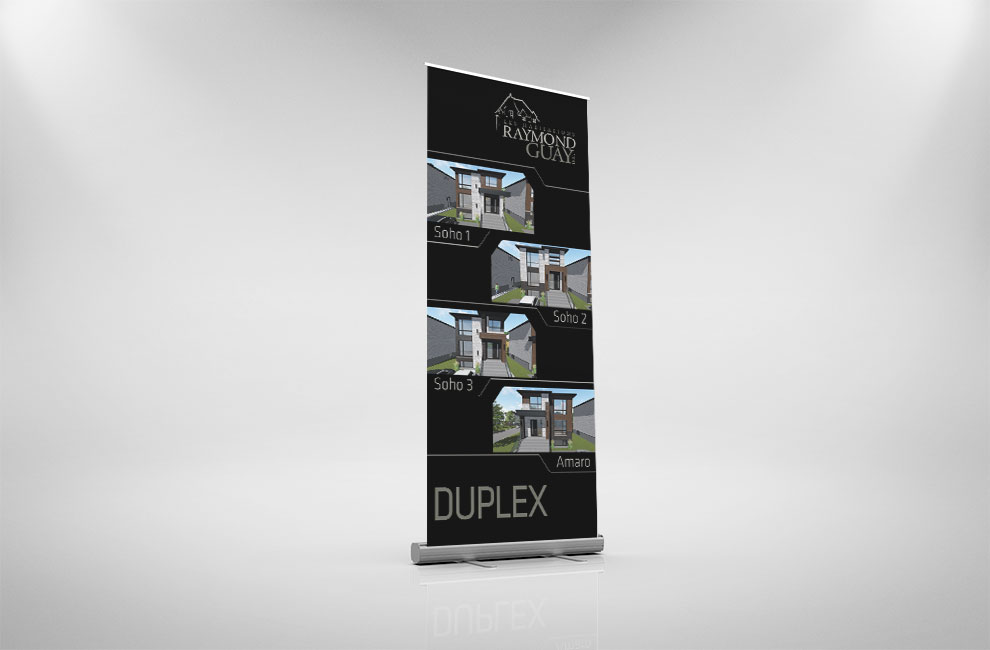 Roll-up pour les habitations raymond guay, graphiste, branding, grand format