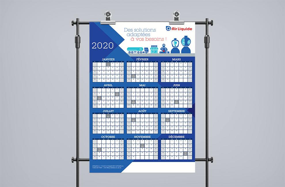 Calendrier Air Liquide 2020, graphiste et branding, grand format