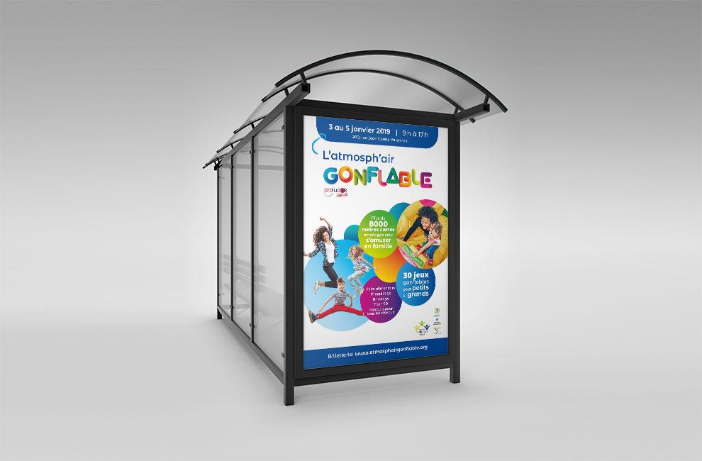 Graphiste et branding, affiche grand format pour l'événement l'atmosph'air gonflable
