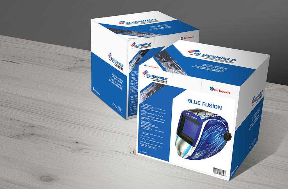 Emballage pour les casque Air Liquide, packaging, graphiste