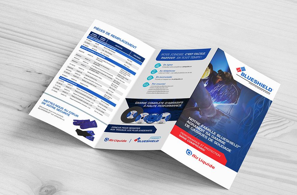 Dépliant promotionnel pour les casques de blueshield, graphiste, mise en page, branding