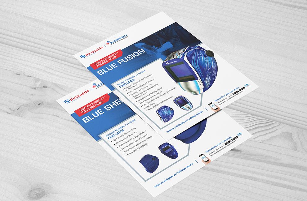Fiche technique pour un produit de air liquide, graphiste, mise en page