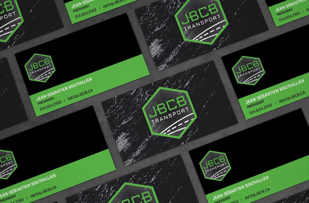 Création de logo JBCB transport, graphiste pour branding, carte d'affaire