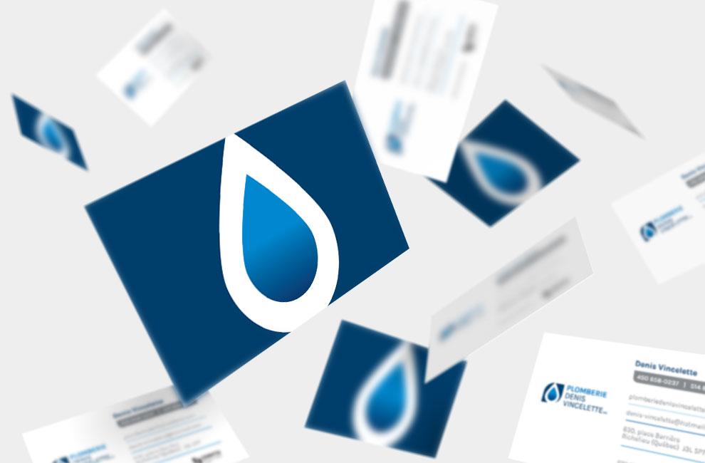 Branding et graphiste, création de logo pour Plomberie Denis Vincelette, cartes d'affaires