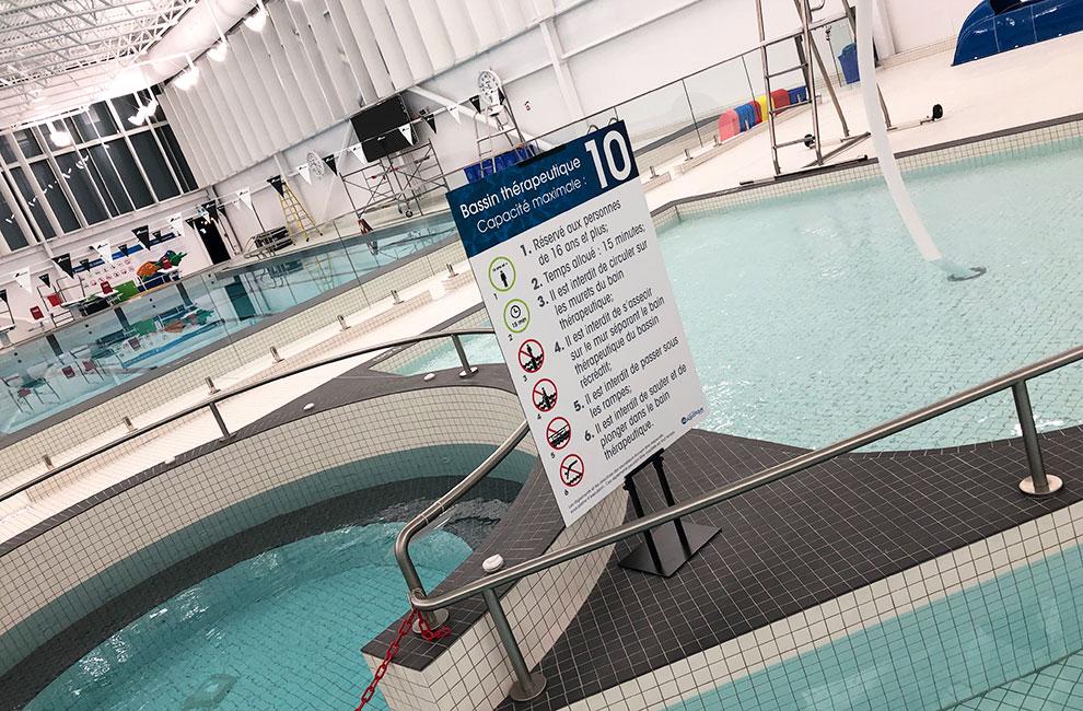 Affiche grand format des règlements de la piscine de beloeil, impression grand format, conception graphique, graphiste