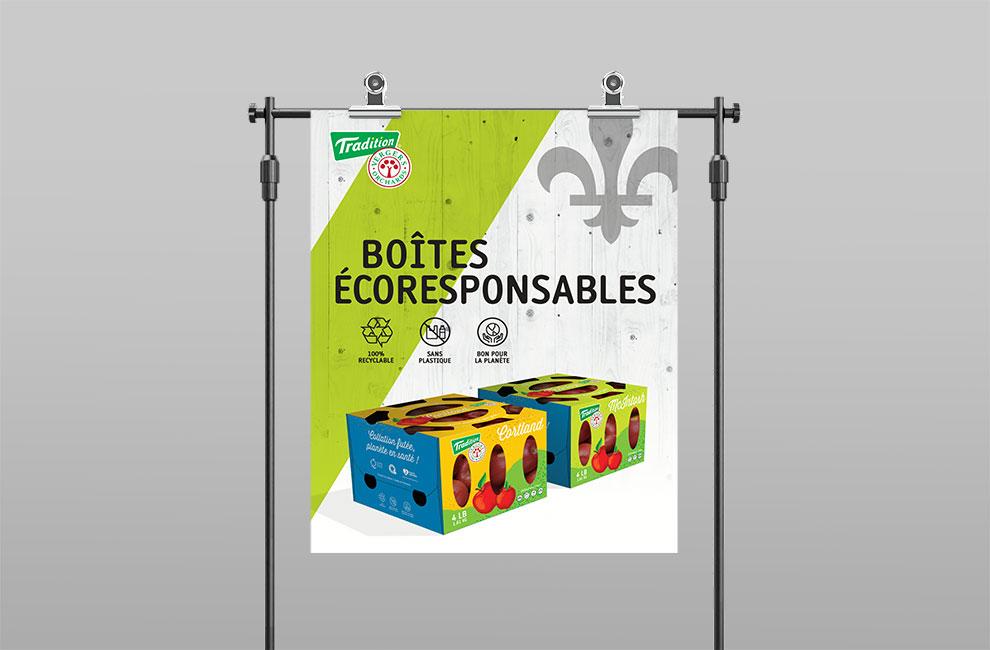 Graphiste et branding, conception graphique d'une affiche grand format pour l'emballage de pomme de Tradition