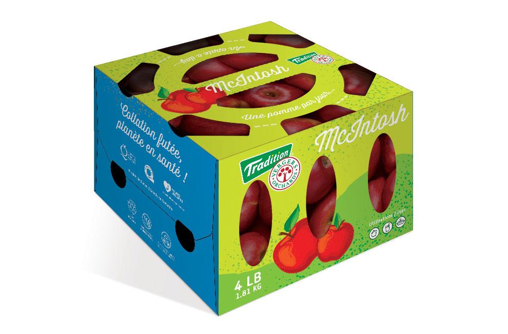 Graphiste et branding d'une boite de pomme en carton pour Tradition vergers, emballage, packaging