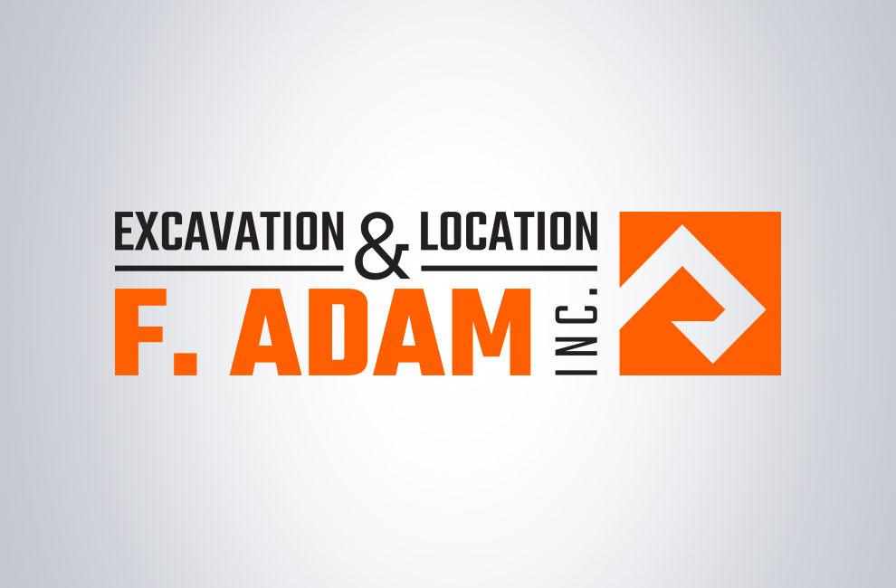 Branding et graphiste, création de logo pour Excavation & location F. Adam