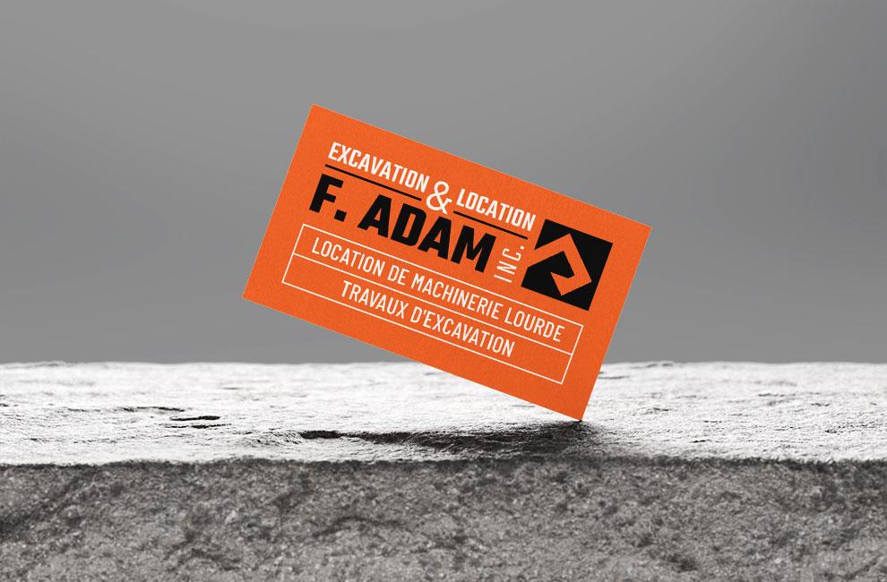 Branding et graphiste, création de logo pour Excavation & location F. Adam, carte d'affaire