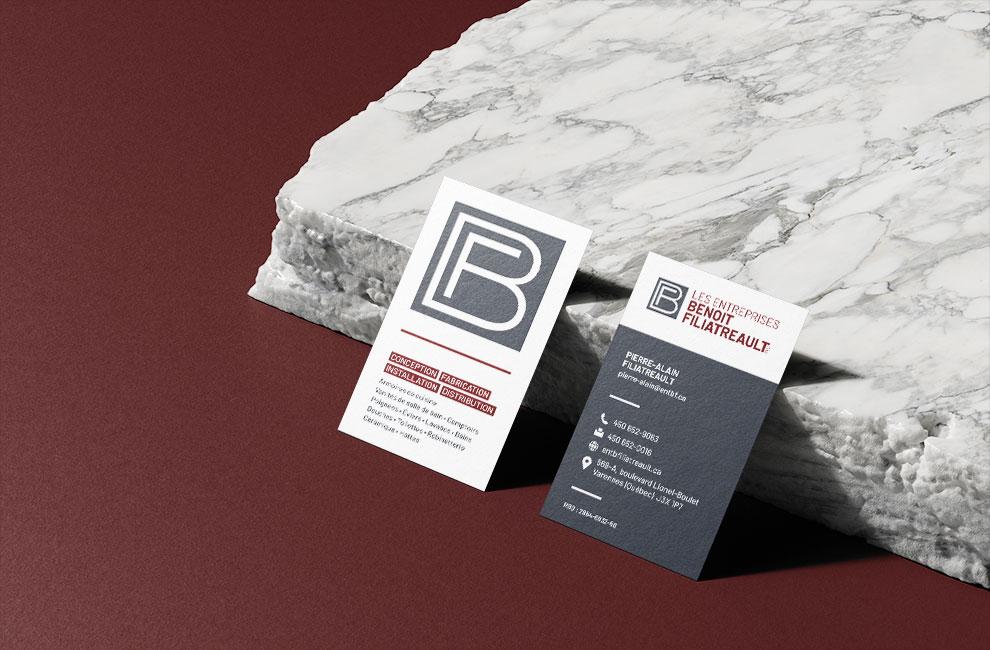 Branding et graphiste, création de logo pour les entreprise Benoit Filiatreault, cartes d'affaires