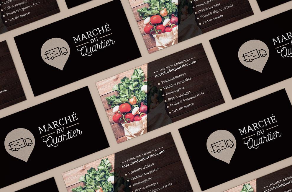Branding, création de logo pour Marché du quartier, carte d'affaire