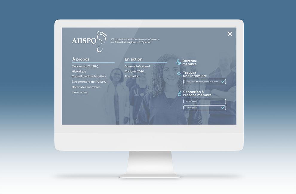 Site web de l'aiispq, menu pleine page