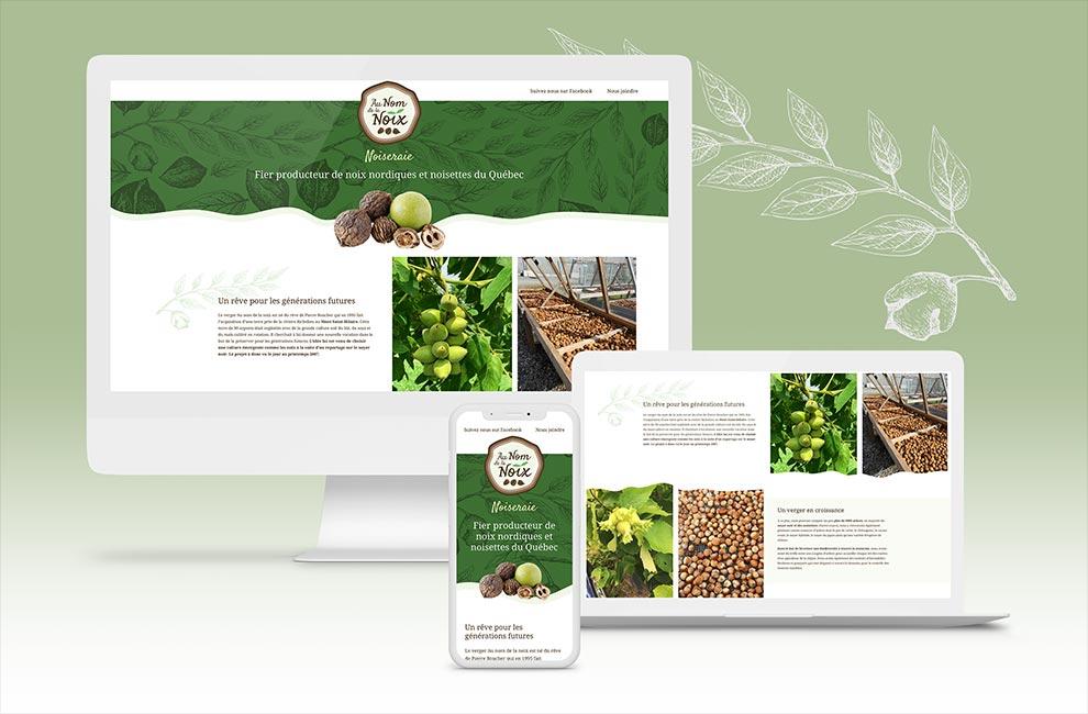 Création d'une page web et intégration pour Au nom de la noix