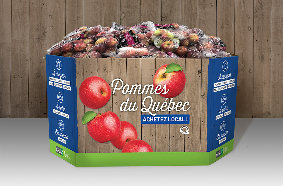 Emballage pour les sac de pomme du Verger Jodoin, graphiste